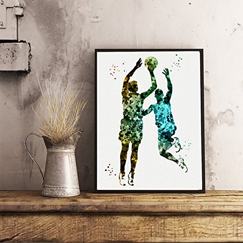 Basketball Player Watercolor Posters Sports Art Prints Wall Decor Artworks Wall Dining Room Wall