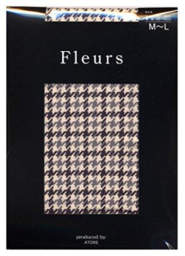 こどもの日汚い危機(フルール) Fleurs 80デニール ドッグ ストゥース 柄 (千鳥格子) プリント タイツ (ゾッキタイプ) M-L