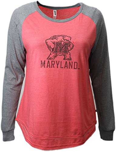 NCAA Maryland Terrapins Womens Collegiate Fan Bling Raglan Tee, X-Large, Red/Grey
