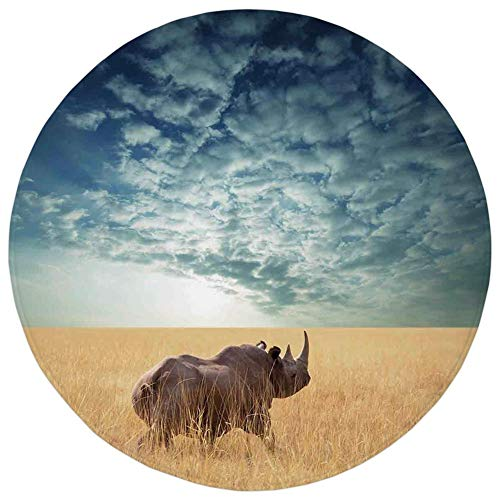 (Round Rug Mat Carpet,Safari Decor,Rhino Rhinoceros Sun Shining Through Cloudy Sky Grassland Autumn View Picture,Flannel Microfiber Non-Slip Soft Absorbent,for Kitchen Floor Bathroom)