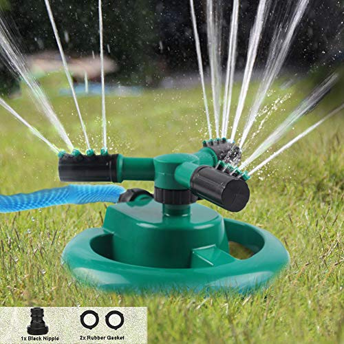Durable Lawn Sprinkler, Water Sprinklers for Garden Lawn Park Yard, Automatic 360 Rotating Sprinkler Irrigation System – Adjustable Spraying Angle and Distance