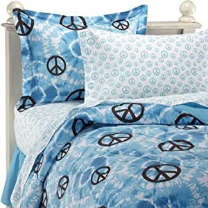 Amazon.com: Blue Tie Dye Peace Signs Full Comforter Set (8 ...
