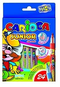 Carioca 41939 - Rotuladores (24 unidades, punta de fieltro lavable), varios colores