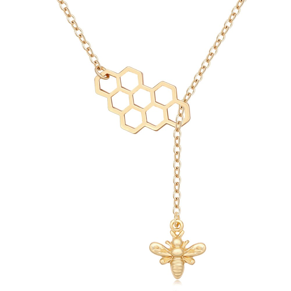 MANZHEN Geometric Bee Hive with Honey Bee Lariat Y Necklace (gold)