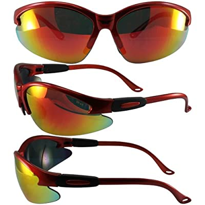 Global Vision Cougar Safety Sunglasses Orange Frame G-Tech Red Mirror Lens ANSI Z87.1