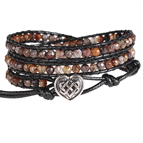 Bonnie Wrap Bracelet Facet Agate Heart of Celtic button Healing Leather Bracelet for Women (Brown)