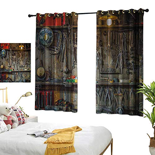 "White Curtains Man Cave Decor,Vintage Tools Hanging On A Wall in A Tool Shed Workshop Fixing Equipment,Multicolor 84""x96"",Darkening Drapes Thermal Insulated from Warm Family"