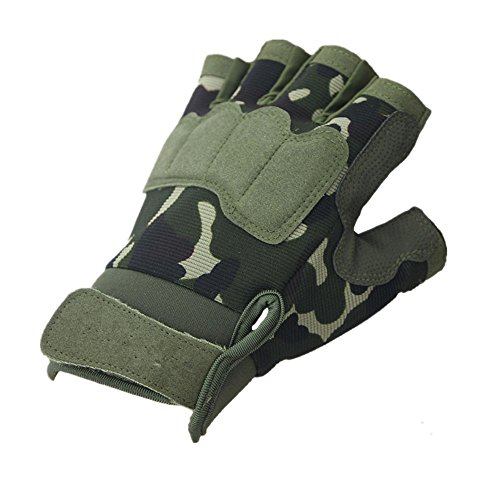 - Adults Best Camo Specialized Tactical Half Finger Leather Glove For Fishing Hiking Climbing Mountaineering Shooting Hunting Mountain Bike BMX Motorbike Sport Riding (Camo, M)