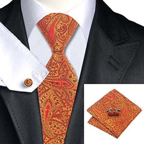 SN-976 Orange Black Red Floral Tie Hanky Cufflinks Sets