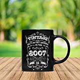 Vintage Born In 2007 Aged Perfectly 11 Years Old Funny 11th Birthday Gift Mug For Kid Boy And Girl,...