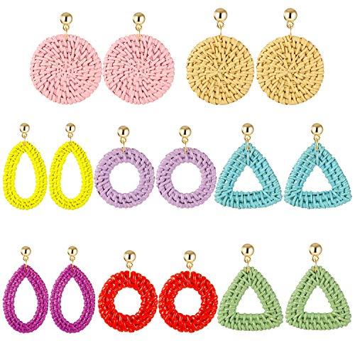 TAMHOO Colorful Big Wicker Earrings for Women - Bright Color Painted Waterproof Woven Earring for Girls Beach Vacation-Handmade Lightweight Bohemia Dangle Earrings Set ()