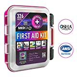 First Aid Kit - Emergency First Aid Kit and Medical Kit Exceeds ANSI Z308.1-2009 OSHA Standards, Hard Case, Wall Mount & Glows in The Dark for Offices, Home, Schools, Daycare, Construction Sites