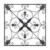 outdoor wall decor metal square - gbHome GH-6776 Metal Wall Decor, Decorative Victorian Style Hanging Art, Steel Décor, Square Design, 29.5 x 29.5 Inches, Black