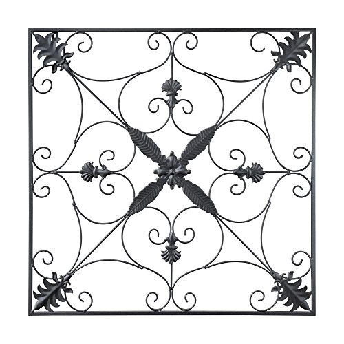 Wrought Iron Wall Hanging - gbHome GH-6776 Metal Wall Decor, Decorative Victorian Style Hanging Art, Steel Décor, Square Design, 29.5 x 29.5 Inches, Black