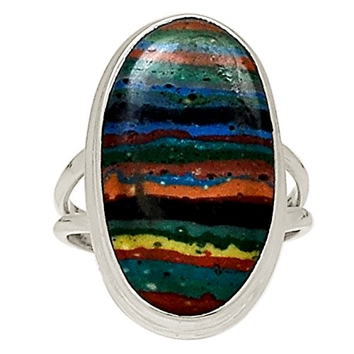 Xtremegems Rainbow Calsilica 925 Sterling Silver Ring Jewelry Size 11 19512R from Xtremegems