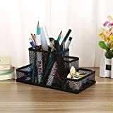 Almand New Arrival Multifuction Black Cube Metal Book Stand Mesh Style Desk Tidy Pencil Metal Pen Holder Office Home Supplies Gift