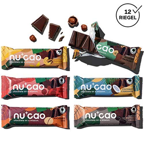 nucao. Schokolade neu gedacht -Mixed Box- Vegane Zartbitter Schoko-Riegel aus crunchy Hanf-Nüssen & Single Origin Kakao [Zuckerfreie Süßigkeiten - Laktosefreie Bio Nuss-Schokoladen-Riegel] 480g