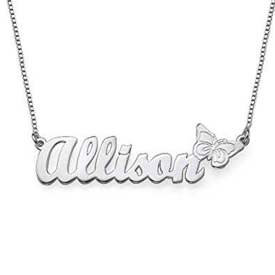 1d007240b Personalized Name Necklace with Butterfly Charm - Custom Gift- Sterling Silver  Name Pendant