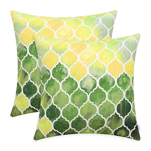 CaliTime Pack of 2 Cozy Throw Pillow Cases Covers for Couch Bed Sofa Farmhouse Manual Hand Painted Colorful Geometric Trellis Chain Print 18 X 18 Inches Main Yellow Green (Yellow Cushions And Green)