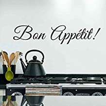 """BATTOO BATTOO Kitchen Wall Decal Quotes - Bon Appetit Wall Sticker Dining Room Wall Decor Removable Vinyl Lettering(White, 10""""h x46""""w)"""