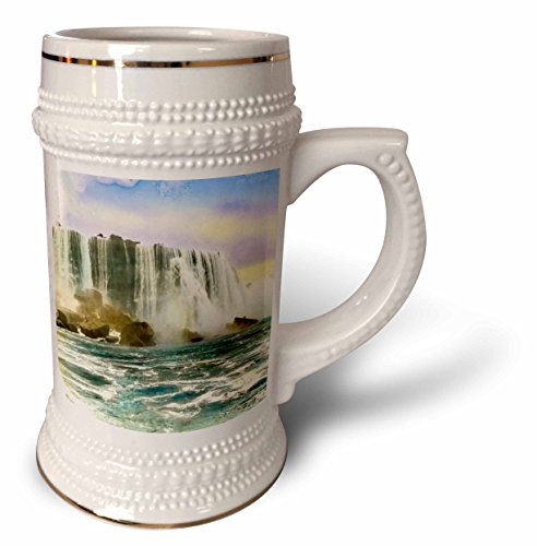 3dRose Scenes from the Past Magic Lantern Slides - Vintage Hand Colored Niagara Falls Early 1900s - 22oz Stein Mug (stn_269924_1)