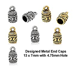 PlanetZia 10pcs 13x7mm with 4,75mm Hole Designed Metal End Caps for Jewelry Making TVT-58357 (Antique Silver)