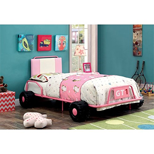 HOMES: Inside + Out Iohomes O'Connor Racing Metal Youth Bed, Twin, Pink