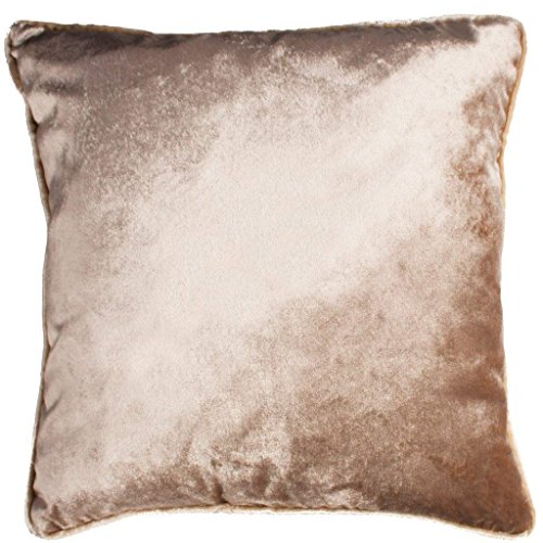 (McAlister Textiles Shiny Velvet | Pillow Cover Sham in Beige | Square 18 x 18 Inches | Plump Decorative Toss Cushion Case Crushed Metallic Look Modern Plush Decor)