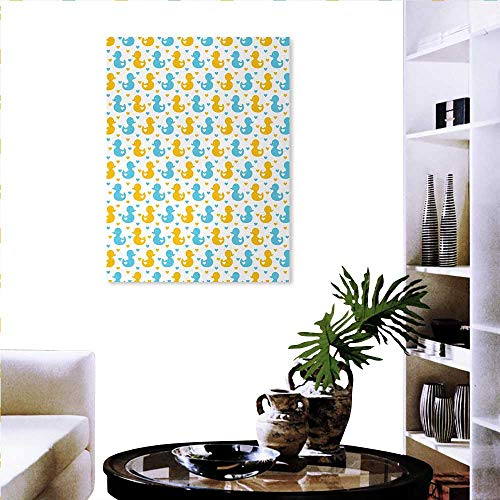 familytaste Rubber Duck Canvas Wall Art Set Baby Ducklings Pattern with Little Hearts Love Animals Print Nursery Room Background Wall Stickers 24