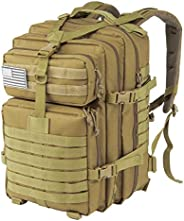 Jueachy Tactical Backpack for Men Molle Military Rucksack Pack Waterproof Daypack 30L No USA Flag Patch