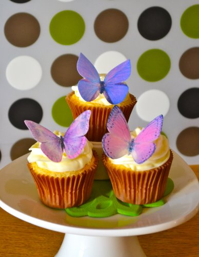 Edible Butterflies © -Large Purple Set of 12 - Cake and Cupcake Toppers, Decoration by Sugar Robot Inc. (Image #1)
