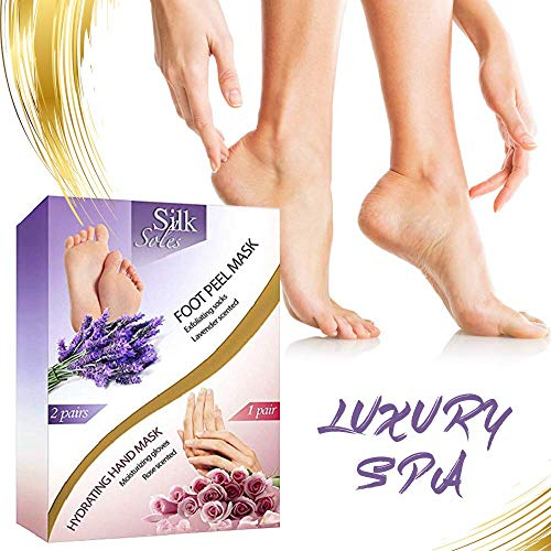 Foot Peel Mask 2 - Pack and Moisturizing Gloves Baby Feet Manicure and Pedicure Kit Exfoliating Foot Treatment Home Spa Hand Therapy Peeling Away Calluses and Dead Skin Cells.