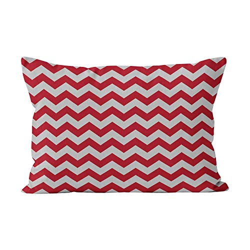 Silver Cranberry - Wesbin Cranberry Red and Silver Grey Chevron Zigzag Beauty Hidden Zipper Home Decorative Rectangle Throw Pillow Cover Cushion Case 12x20 Inch Boudoir One Side Design Printed Pillowcase