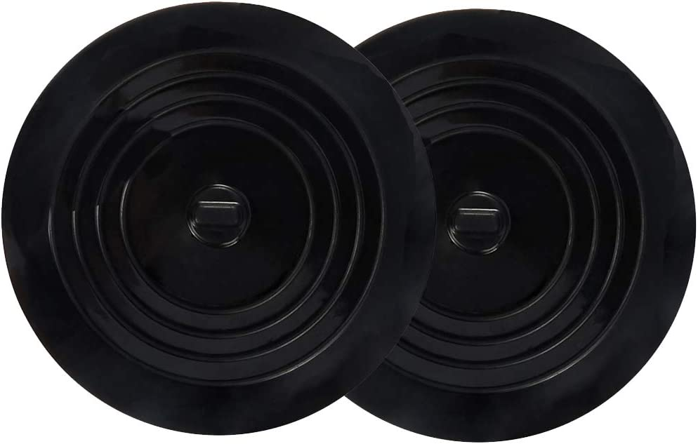 V-TOP Tub Drain Stopper, 6 inches Large Silicone Drain Cover Plug Sinks Stopper Flat Suction Cover for Kitchen Bathroom and Laundry (Black-2 Pack)