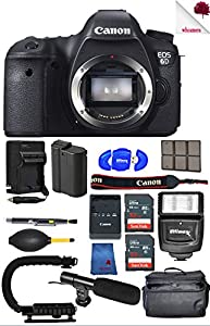 Canon EOS 6D DSLR Camera Body Only (8035B002) USA - Full Accessory Video Bundle Package Deal