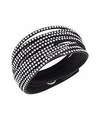 Glamorous Black Snake White Austrian Crystals Fashion Wrap Bracelet