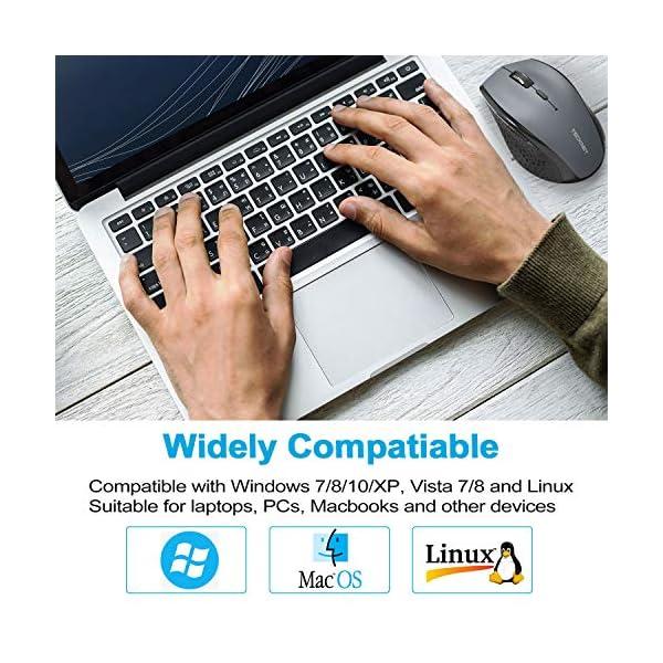 TECKNET Souris sans Fil 2.4G, Souris Optique 4800 DPI 6 Boutons avec Récepteur Nano USB Compatible pour Macbook…