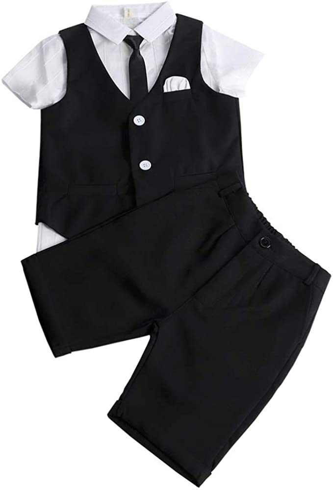 Feaya Boys Summer Wedding Suits 3 Pieces Shirt Vest and Shorts Pants Set with Tie