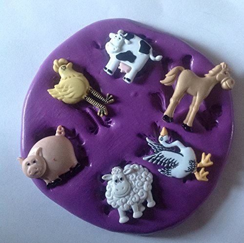 FARM ANIMALS SILICONE MOULD/MOLD HEN GEESE COW SHEEP HORSE PIG