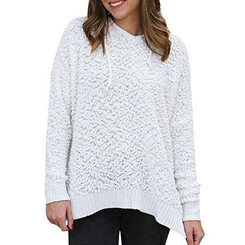 Byyong Clearance Women Sweatshirts, Women Casual Loose Long Sleeve V Neck Hoodie Pullover Blouse Shirts(XL,White)