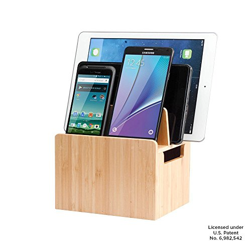 MobileVision Bamboo Charging Station Stand and Multi Device Organizer Charging Dock with Extension Compartment for Individual Desktop Storage Caddy / Tray Personal Space Saver capabilities for your Smartphones / Tablets like Apple iPhone/iPad, Samsung Galaxy, HTC, LG, Nexus, and more
