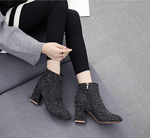 KHSKX-Thick With High-Heeled Boots It Is Winter The New Party Head Side Zipper And Versatile And Comfortable Ladies Boot The Wind 8Cm Black 39 PeJzfzCR
