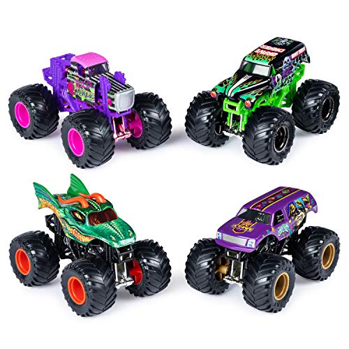 Monster Jam Official Die-Cast 1:64 Scale Double 2 Pack (Grave Digger, Wild Flower, Dragon, Jester)