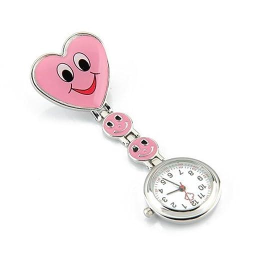 SODIAL(R) Reloj Tipo Enfermera Cuarzo Esfera Redondo Corazon Risa Color Rosa: Amazon.es: Relojes