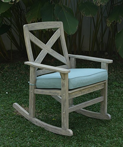 Cambridge-Casual 130824BLU West Lake Rocking Chair with Seat Pad, Weathered Grey With Spruce Blue