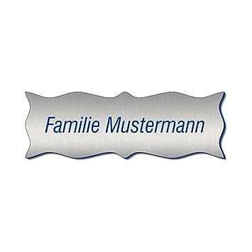 T/ürschild Klingelschild Farbkombination:Silber Blau 402-01 Namensschild Briefkastenschild Pokalschild