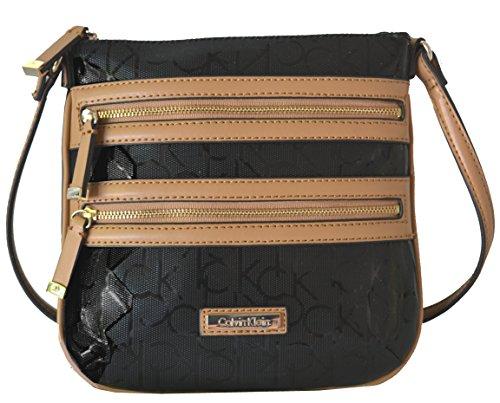 Women's Calvin Klein Purse Handbag Crossbody Black/Camel