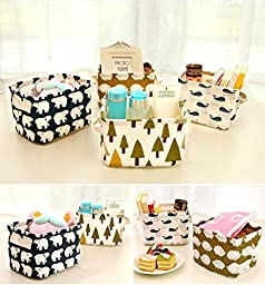 UQueen Fashion Creative Household Desktop Ambry Cotton Linen with handle Sundry Cloth Cosmetic Storage Basket Box Case Organizer (Whale)