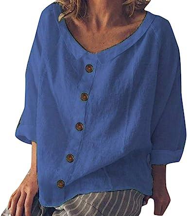 Camisa de Manga Corta de Botón de Mujer ,riou Moda De Verano Tallas Grandes Camisetas con botón de algodón Suelto Verano Tops Casual Fiesta T-Shirt Original: Amazon.es: Ropa y accesorios