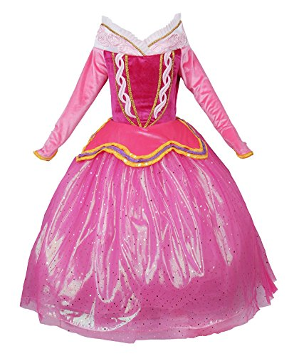 JerrisApparel Princess Aurora Dress Girl Party Dress Ceremony Fancy Costume (4T, Pink) -